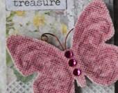 OOAK Home Decor Altered Butterfly Magnet Vintage Appeal Pink