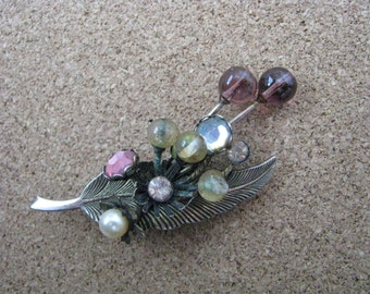 Very vintage metal leaf pin brooch with pink rhinestones faux pearls  and mod stylized glass bead flowers