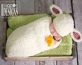 CROCHET PATTERN Baa-Baa Baby Lamb Hat and Cocoon Set PDF Pattern Instant Download