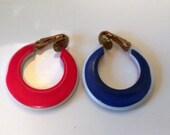 Vintage Red White and Blue Hoop Earrings