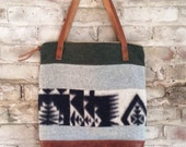 XL zip top wool and leather tote