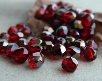 Ruby Czech Glass Beads, Fire Polished Faceted Round Beads, 6mm, Transparent Dark Ruby &  Bronze Half Coating(40pcs) NEW