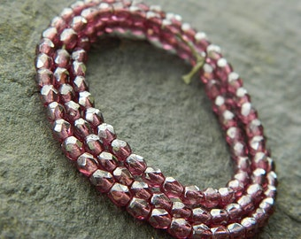 3mm Fuchsia Faceted Round Glass Beads, Czech Glass Beads, Fire Polished Beads,Transparent Fuchsia & Luster (100pcs) NEW