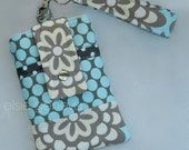 Grey / Taupe and Slate Blue Floral & Dots Phone Case with Wristlet iPhone 4 5 6 Plus Smartphone Android Galaxy Xperia LG