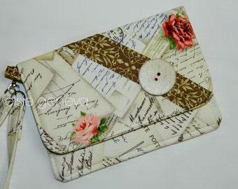 Vintage Phone Case Wristlet or Belt Clip - Wallet - Credit Card Slots - Zipper Pocket - iPhone 6 Plus Otterbox Case iPhone 7