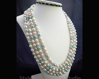 """Multi Color Pastel, Cultured Freshwater Pearl, Quartz Gemstone, 108"""" Long Necklace, Blue, Pink, White, 925 Sterling Silver, Layered, Jewelry"""