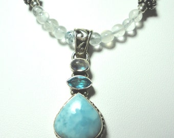 Larimar Pendant with Blue Topaz and Moonstone with Apatite Bead Necklace in Sterling