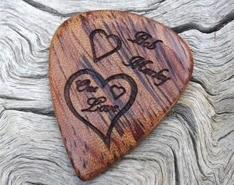 Handmade Premium Wood Guitar Pick - Bubinga - Laser Engraved - Actual Pick Shown - No Stock Photos