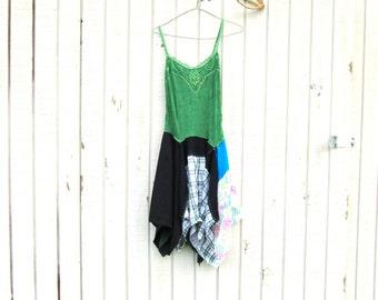 funky green upcycled dress / summer lagenlook dress / eco clothing / day dress / boho dress by CreoleSha