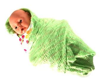 Baby Blanket Swaddler Receiving Blanket Spring Green Smocked Super Soft Stretchy Infant Baby Blanket