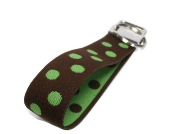 Chocolate Brown with Lime Green Dots Stretchy Key Fob Size Medium Keychain Wristlet Brown & Green Bracelet Style Stretch Key Holder