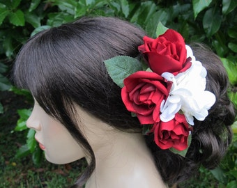 Red Roses and White Hydrangea hair flower  Cluster clip