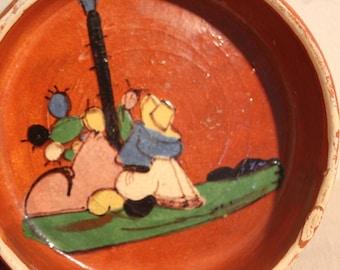 Vintage Mexican Redware Bowl Handle Hanging  - Siesta Man Cactus