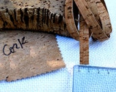 """Natural cork strip 2x1meter (39 3/8""""), 1cm wide (3/8""""), made of Eco friendly Portuguese double side cork fabric, for bracelets, cork cord"""