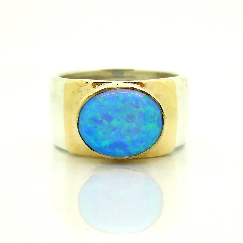 Opal ring oval gemstone hammered silver & yellow gold band