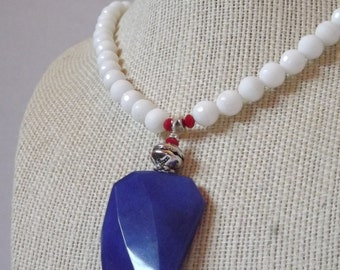 Christmas in July-Blue Jade Pendant Necklace