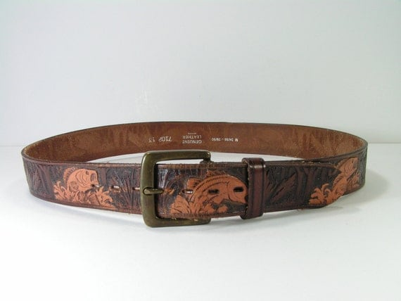 tooled leather belt 32 34 brown fish trees western cowboy bass