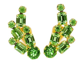 Vintage Rhinestone Earrings In Peridot Green Baguettes and Round Chatons, Ear Climber Style