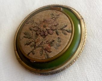 Vintage Enamel Petite Pointe Embroidery  Ladies Compact