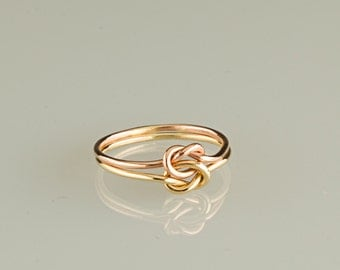 14K solid GOLD, Etsy jewelry, love KNOT ring, celtic,18g, rose and yellow or white mix