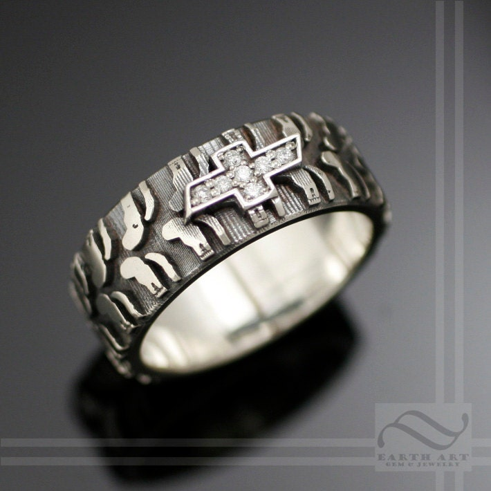 mens chevy tire tread ring with sterling by