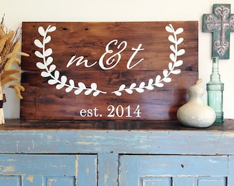 CUSTOM Monogram Initials Sign with Laurel Wreath- Personalized Reclaimed Barn Wood Sign- Wedding Sign-Wall Decor