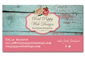 Business Cards, Digital Print at Home or Online, Aqua Blue Pink Roses, Shabby Chic