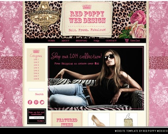 Website Template, Pink Vintage Leopard Damask, Web Design, Ecommerce Website, pink leopard website, Vintage Website, web site template