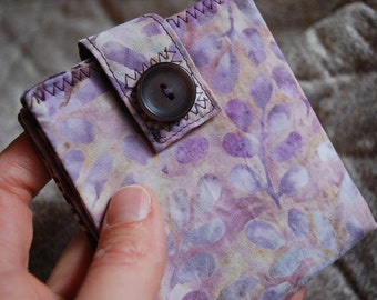 Women's wallet - soft spring pink and lavender batik - coin pocket FREE SHIPPING