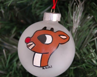 Rudolph the Red Nosed Reindeer Christmas Tree Ornament Medium Ball Frosted
