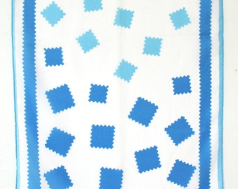 Fun Vera scarf in two tone blue and white. Geometric, abstract, swatches, summer, spring, oblong.