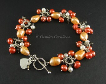 On SALE!  Peach Freshwater Pearl Bracelet Tangerine Orange, Smoky Quartz, Sterling Silver Wire Wrapped Cluster Pearl Bracelet