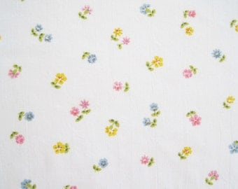 Vintage Sheet Fabric Fat Quarter – Floral Pink Blue Yellow Small Flowers White Background
