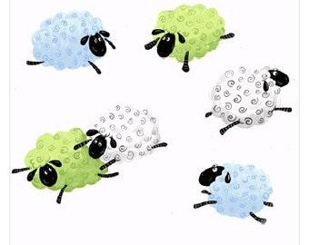 "LEWE the EWE SHEEP ~ 100% Cotton Fabric ~ Flying Sheep ~ Quilt Fabric ~ 1/2 Yard Cut ~ 18"" x 43"" by Susybee Fabrics"