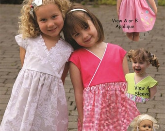 X's and O's ~ Two Dresses with Matching Doll Dress ~ Multi-sized Sewing Pattern for Girls ~  Sizes 2-10 ~ olive ann designs oad91