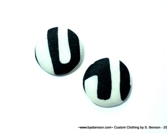 Fabric Covered  Button Earring - African Black and White