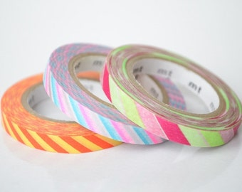 3 x 6mm x 10M Mt slim washi tape, 3 colors per set