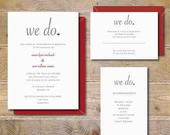 Wedding Invitations, Summer Wedding, Fall Wedding, Heart Wedding Invitations, Outdoor Wedding, Modern Wedding Invitations - We Do