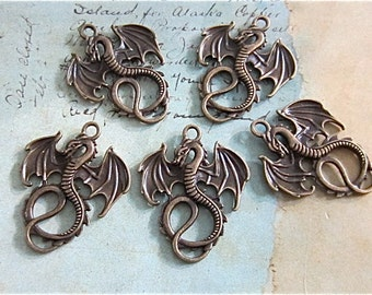 Dragon necklace Charm - pendant - Antique bronze - Jewelry finding - 5 in lot - (ABDC)