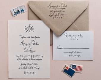 Wedding Calligraphy Invitation Stamp Set