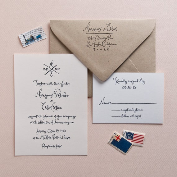 Items Similar To Wedding Calligraphy Invitation Stamp Set