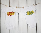 """Twin set  """"POW"""" and """"BAM"""" comicbook style bodysuits for twins, great twins gift, baby shower gift for twins, fun photo prop"""