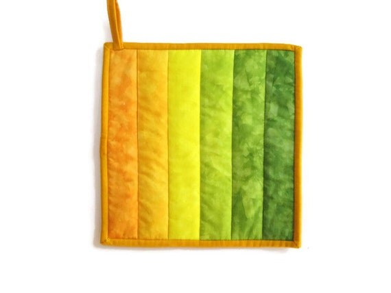 Ombre Potholder  in Hand Dyed Shades of Gold Through a Woodsy Green