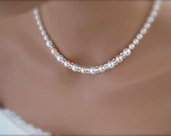 Wedding Jewelry Peach Bridesmaid Necklace Bridal Necklace Bridesmaid Jewelry Gift
