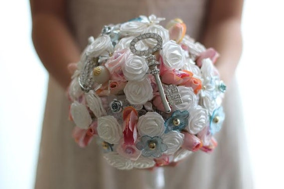 SALE-Vintage Inspired Bouquet - Bridal Flower Accessory in Pink, White and Blue - The Key to a