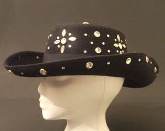 FREE SHIPPING Vintage 100% Wool Felt Wide Brimmed Hat