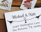 Custom Rubber Stamp - Eco Mount Personalized Address Stamp - Birds & Heart String