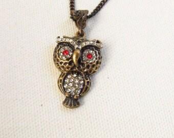 Owl vintage necklace / Copper owl necklace