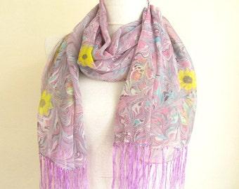 marbled scarf - chiffon scarf - handmade scarves  -