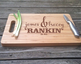 Engraved Cutting Board Monogrammed Chopping Block Engraved BAMBOO Cutting Board 13 X 9.75 X .5 Wedding Gift House Warming Gift Monogram